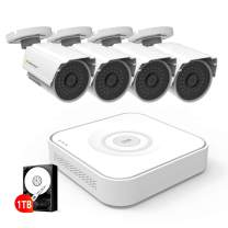Jennov 5 in 1 8CH 1080P Outdoor Security Camera System Smart Home Surveillance Kits with 4pcs 1080P Weatherproof CCTV Camera White and 1TB Hard Drive Motion Detection Email Alert Mobile Phone View