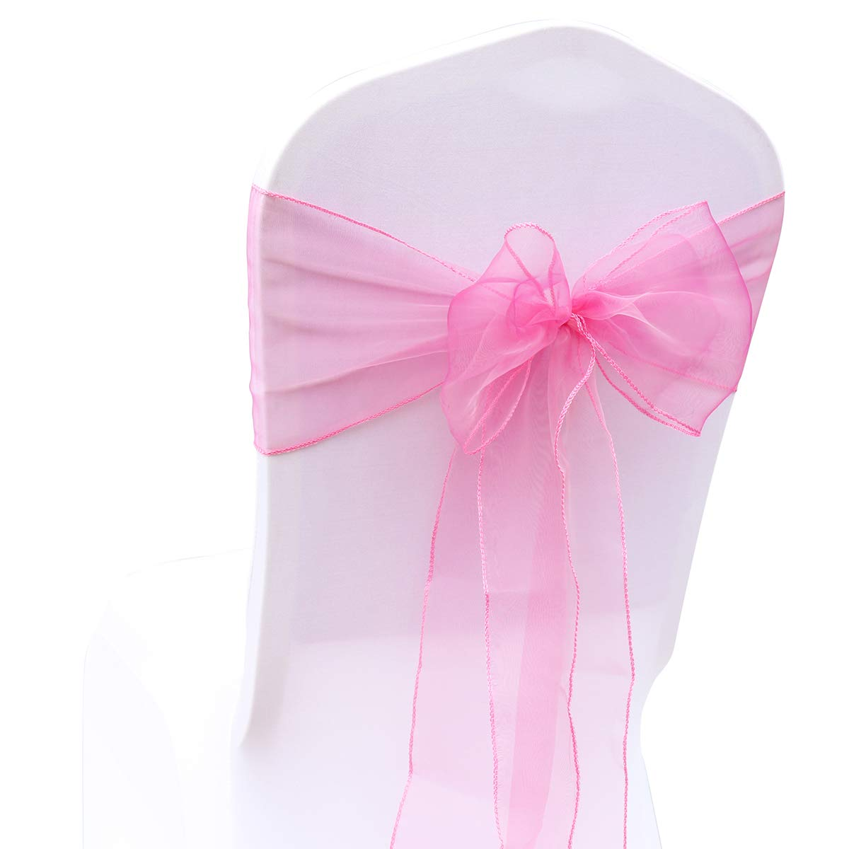 BIT.FLY 50 Pcs Organza Chair Sashes for Wedding Decoration Banquet Party Event Supplies Chair Bows Ties Chair Cover Bands - Fuchsia