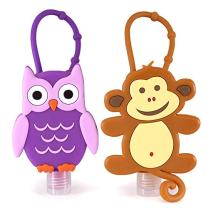 Bac-Pac Buddies Hand Sanitizer Bundle Pack- Travel Size Scented Gel On-the-Go Bottles (2 Pack, Owl and Monkey)