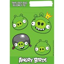 """Amscan Fun-Filled Angry Birds Birthday Party Folded Loot Bags (Pack Of 8), Green, 9"""" x 6 1/2"""""""