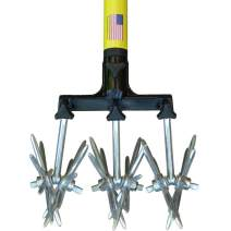 """Rotary Cultivator Tool - 40"""" to 60"""" Handle - for Bare Spots or Patches - Reinforced Tines - Reseeding Grass or Soil Mixing - All Metal, No Plastic Structural Components - Cultivate Easily"""