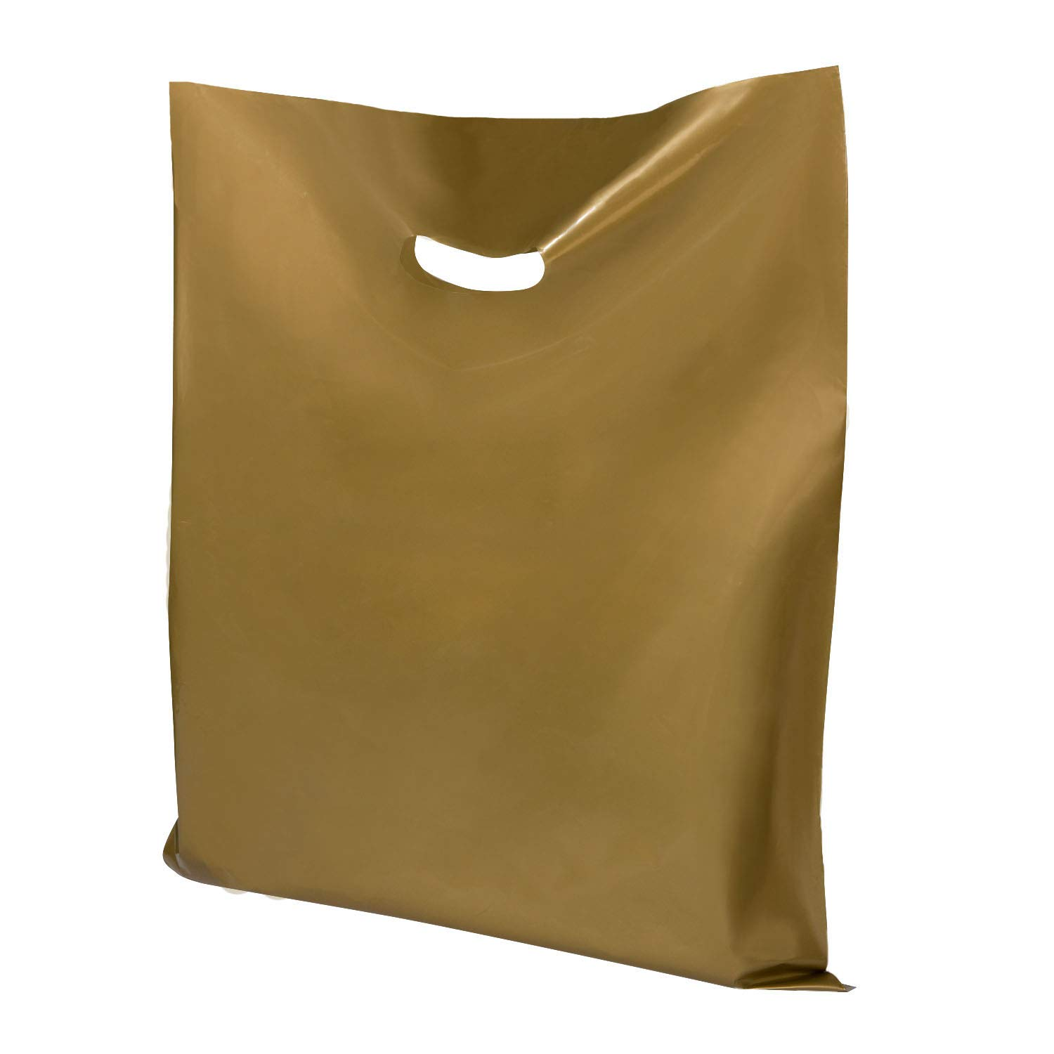 """Houseables Plastic Retail Bags, Merchandise Bag, 16""""x18"""", 100 Pack, Gold, Die Cut Handle, Craft Fair Supplies, Store Shopping, Glossy, for Sales, Product, Treat, Gift, Clothes, Party, Favor, Boutique"""