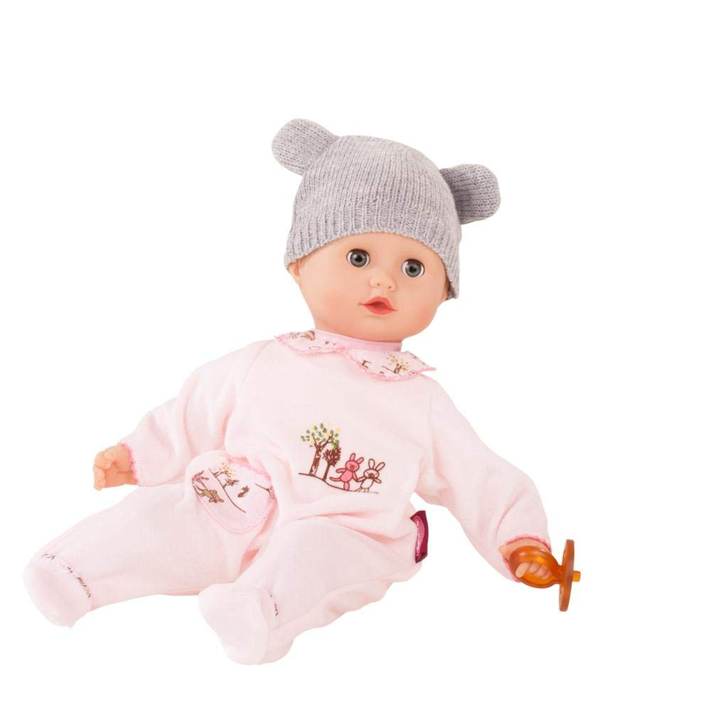 """Gotz Muffin Companions 13"""" Bald Baby Doll with Blue Sleeping Eyes, Pink Bunny Pajama's, Pacifier and Knit Hat - Ages 18 Months and Up"""