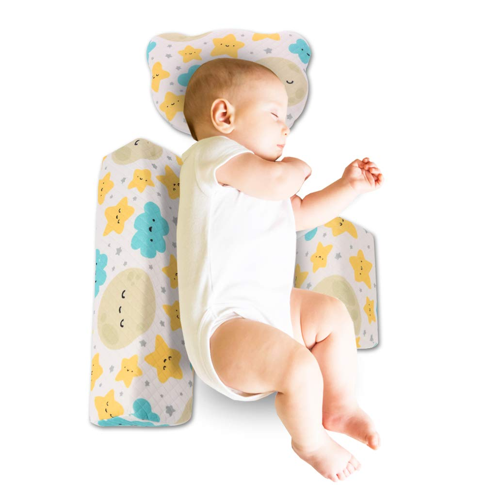 REBIRTHFOX Baby Sleep Pillow with Baby Flat Head Pillow for Newborn Infant Wedge Pillow,3D Memory Foam for Adjustable Side Support Pillow with Cute Little Bear Shape Pillow