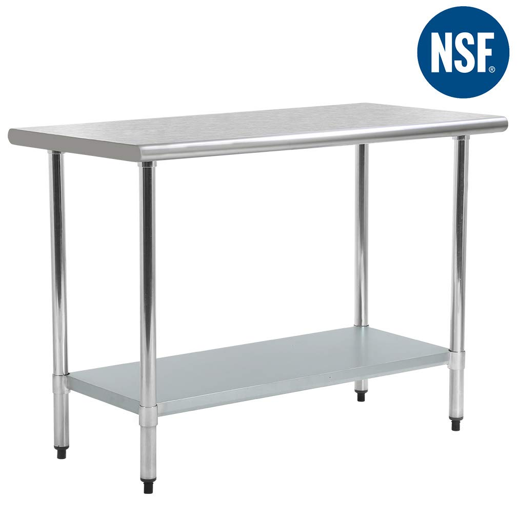 Kitchen Work Table Stainless Steel Metal Commercial NSF Scratch Resistent and AntirustWork Table with Adjustable Table Toot,24 X 48 Inchs