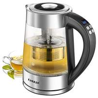 CHULUX Electric Glass Kettle,Variable Temperature Hot Water Boiler with Tea Filter,7 Colors LED Indicator Fast Heating Boiler for Tea, Coffee, Milk,Keep Warm & Auto Shut-Off, 1200W, 1.7L