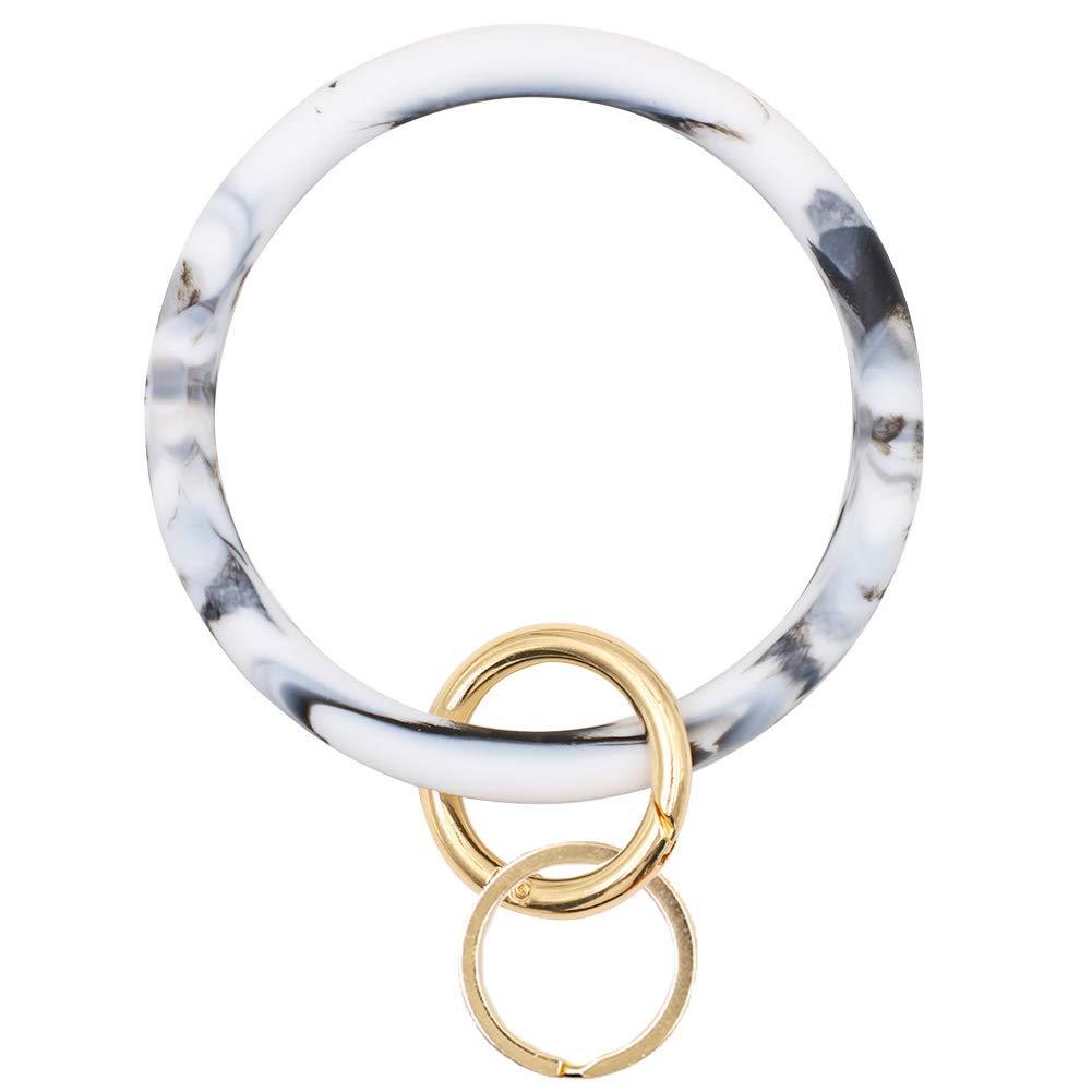 Mwfus Bangle Key Ring Chain Bracelet, Round Silicone Wristlet Keychain Holder for Women Girls