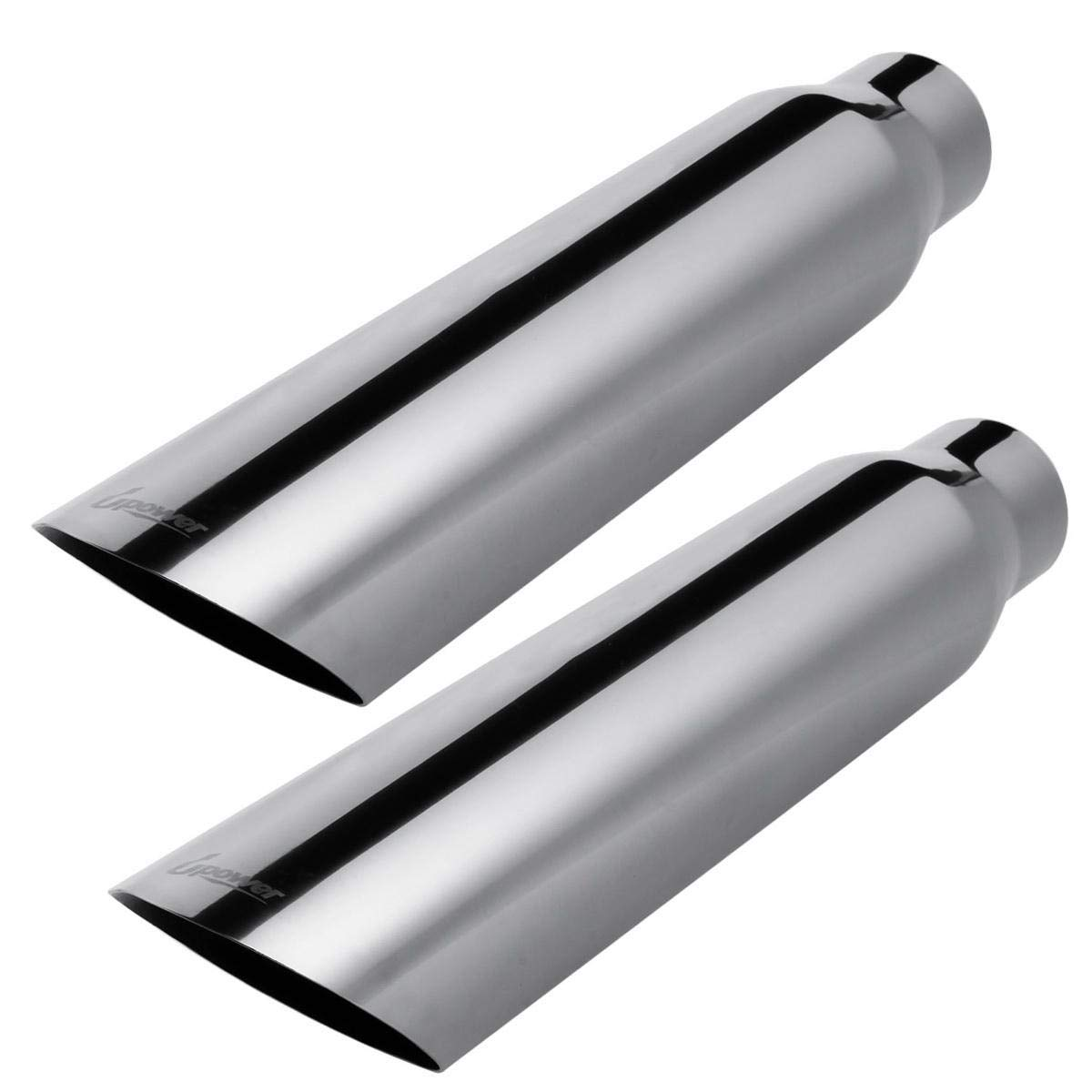 """2 PCS Universal Trucks Car 2.5"""" to 3.5"""" Exhaust Tip 18"""" Long Stainless Steel Weld On Exhaust Tailpipe Tips"""