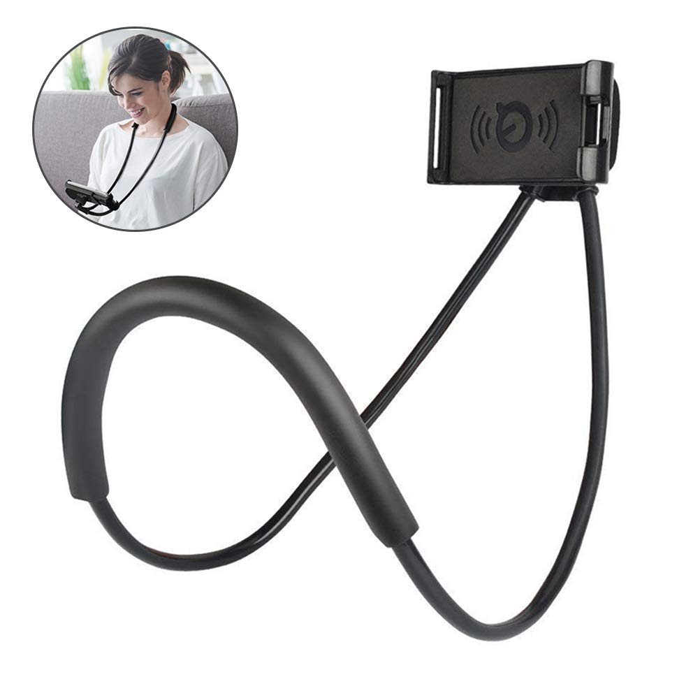 ieGeekLazy Phone Tablet Holder Stand Flexible 360° Rotating Neck Waist Hanging Bracket for Mobile Devices 4.7-7.6 inch (Black)