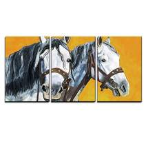 """wall26 - 3 Piece Canvas Wall Art - Shire Horses Portrait Painting - Modern Home Decor Stretched and Framed Ready to Hang - 24""""x36""""x3 Panels"""