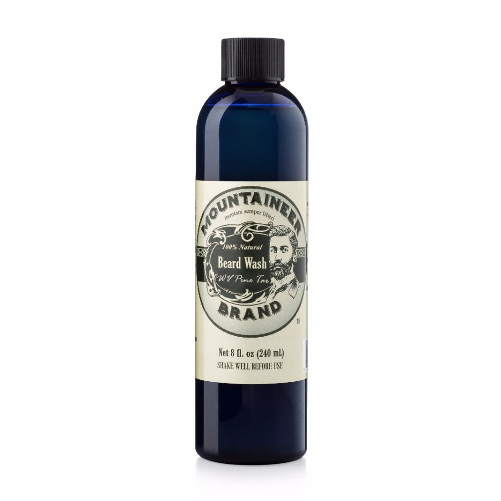 Beard Wash by Mountaineer Brand (8oz) | WV Pine Tar Scent | Premium 100% Natural Beard Shampoo