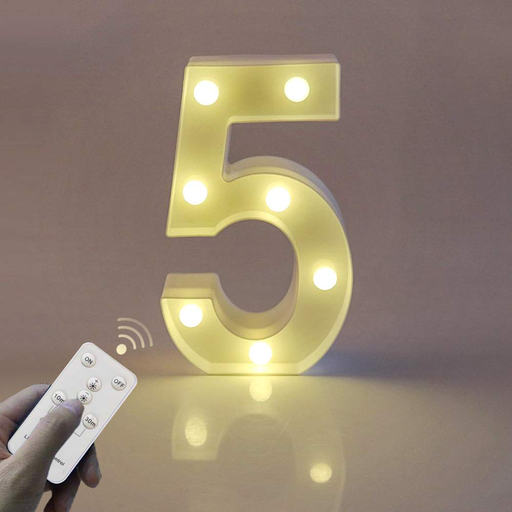 WHATOOK Remote Control Number Lights with Timer Dimmable,LED Marquee White Plastic Lights Battery Powered, Light Up Arabic Numerals 0-9 Sign Lamps Perfect Decor for Wedding (Number-5)