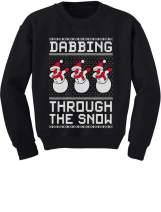 Dabbing Through The Snow Snowman Xmas Dab Ugly Christmas Youth Kids Sweatshirt