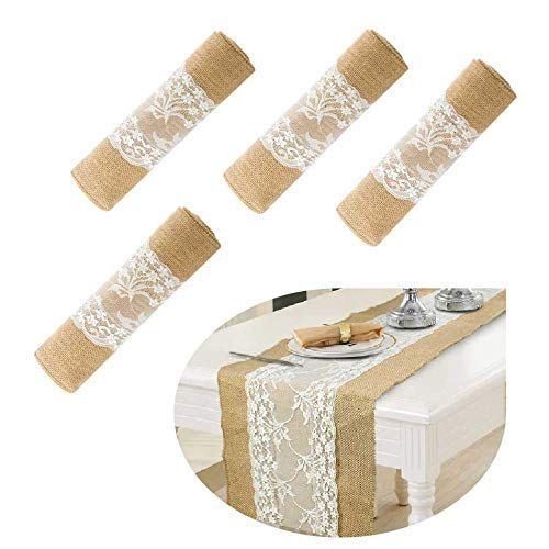 boyspringg 12X108 Burlap Lace Hessian Table Runner Rustic Jute Country Thanksgiving Christmas Baby Wedding Party Decoration Table Decor (4 Sets)