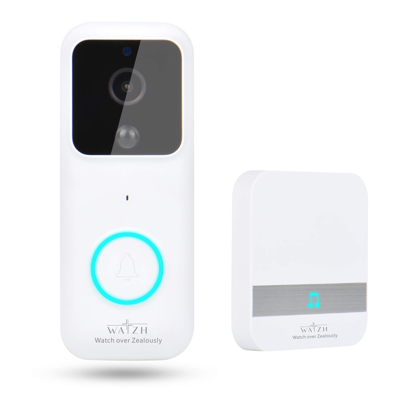 Watzh Video Doorbell, 1080P HD Real-time Video Wireless WiFi Doorbell Camera Smart Doorbell Two-Way Talk with Indoor Chime Night Vision & PIR Detection with 2 Batteries & 32G Memerry Card