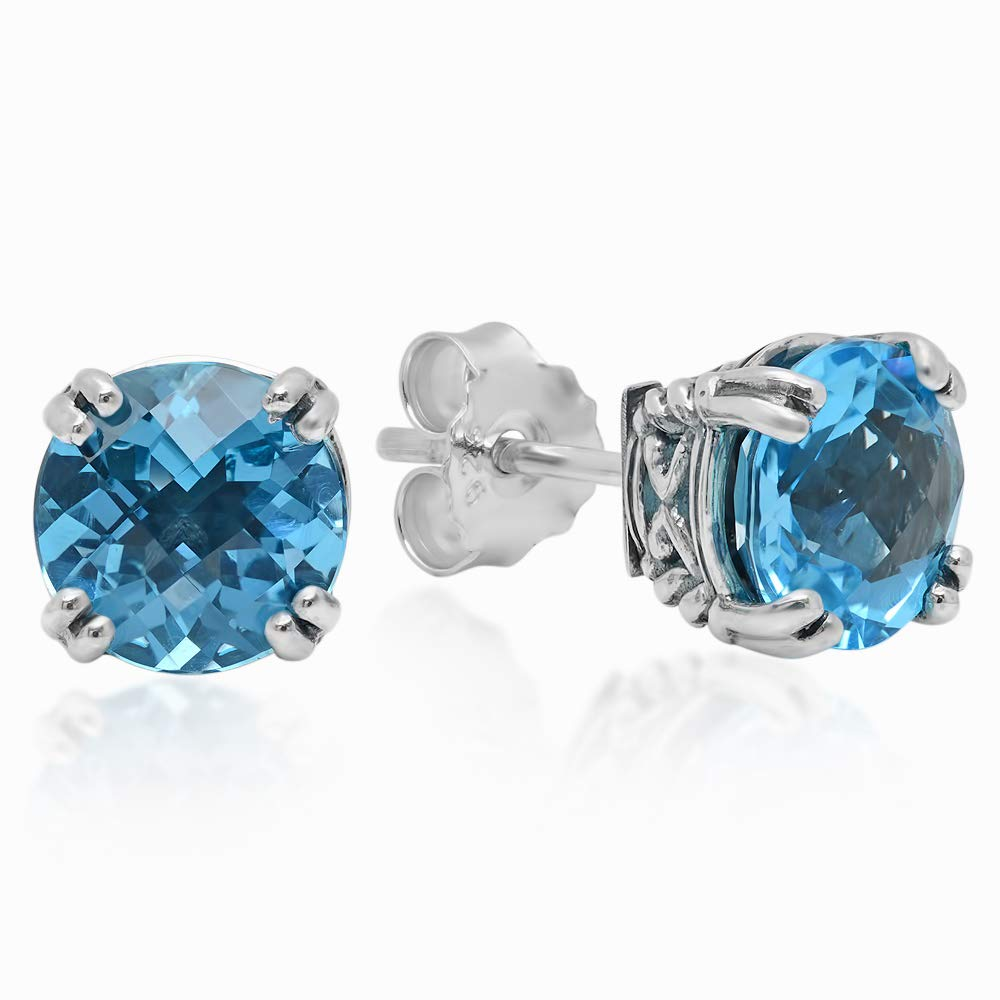 Sterling Silver Gemstone Stud Earrings in Crown Detailed Double Prong Setting (8mm)