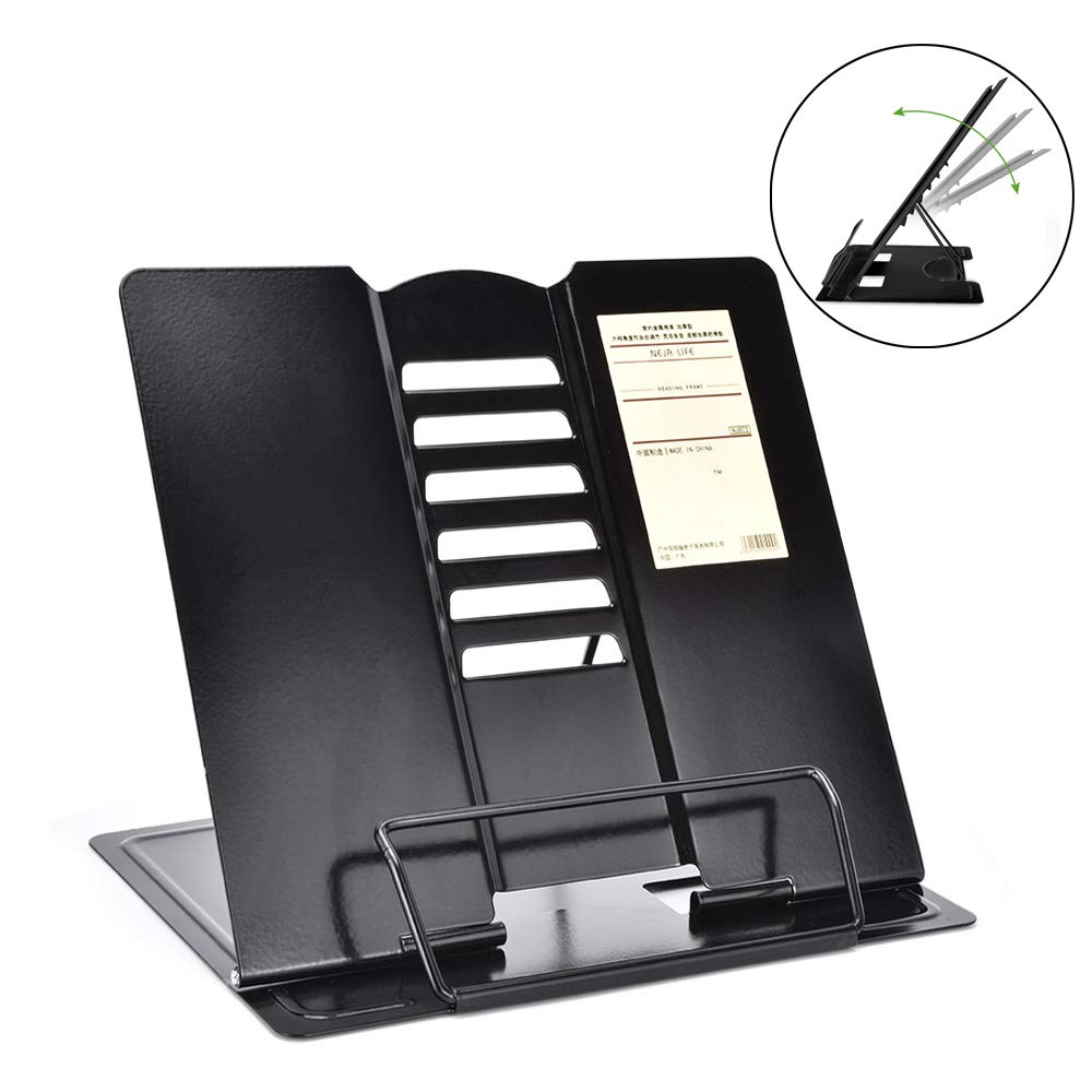 OTraki Recipe Book Stand with Page Paper Clip Adjustable Cookbook Holder 10.2x8.3 inch Portable Metal Document Rest Cookbooks Music Books Reading Display Bracket for Kids Students Black