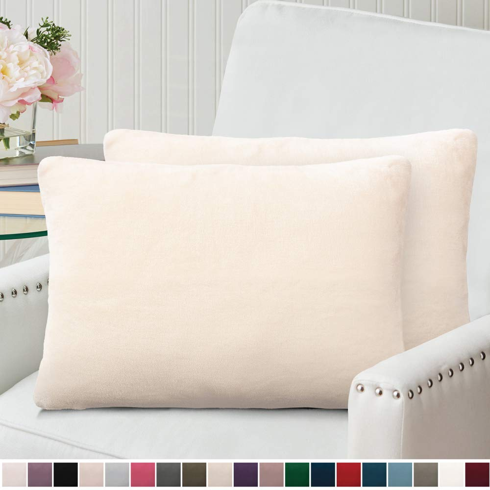 The Connecticut Home Company Original Velvet Pillowcases, Set of 2 Solid Decorative Case Sets, Throw Pillow Covers, Luxury Soft Cases for Kids Bedroom, Living Room, Couch, Bed, 12x20 inch, Cream