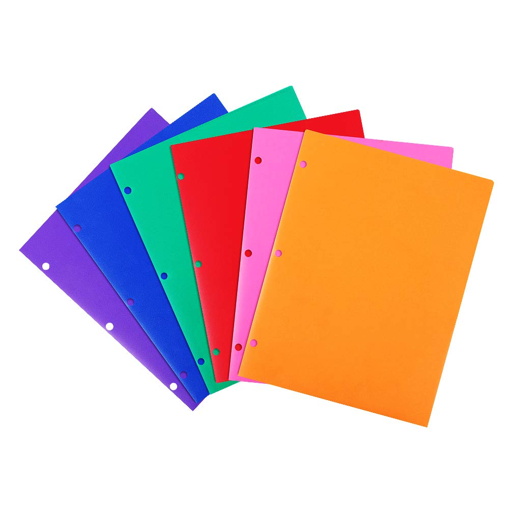 INFUN Plastic Folders with Pockets,Heavy Duty 2 Pocket Folders with 3 Hole, School Binder Folders with Assorted Colors - 6/Pack