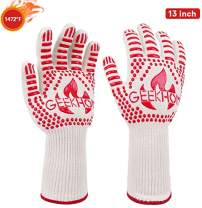 GEEKHOM Grilling Gloves,1472℉ Heat Resistant BBQ Grill Gloves, EN407 Certified 13 Inch Oven Gloves for Smoker Barbecue Baking Cooking Welding Weber Fireplace(Red)