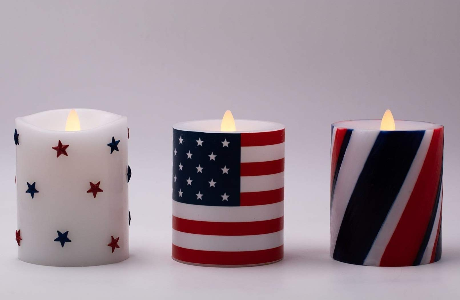 """Flameless Candles Set of 3(D 3.5"""" x H 5"""") Battery Operated American Flag Pillar Candles with Timer and Remote to Buy Separately"""