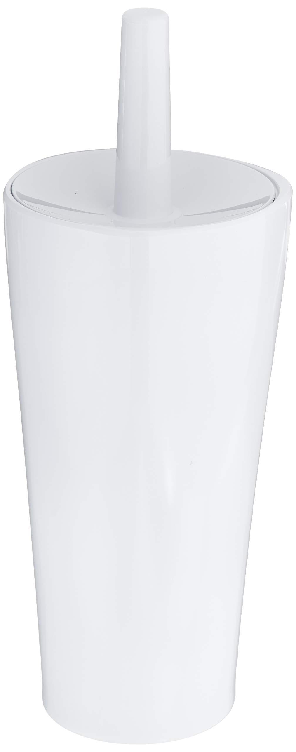 AmazonBasics Toilet Bowl Brush and Holder - Smooth White