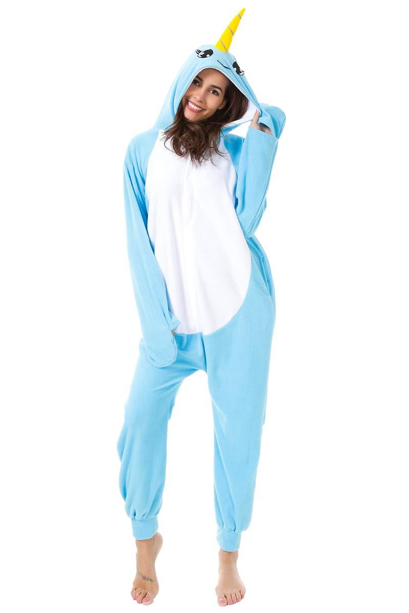 XVOVX Adults and Children Animal Narwhal Unicorn Cosplay Costume Pajamas Onesies Sleepwear
