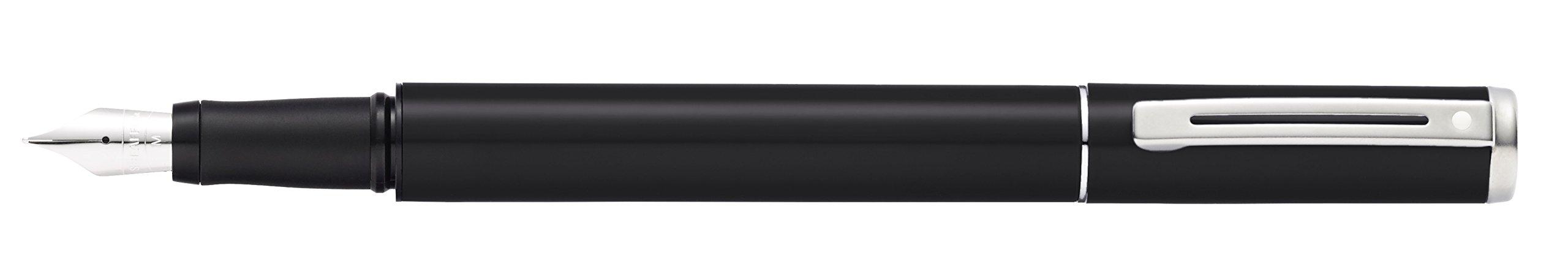 Sheaffer Pop Glossy Black Fountain Pen with Chrome Trim and Medium Nib