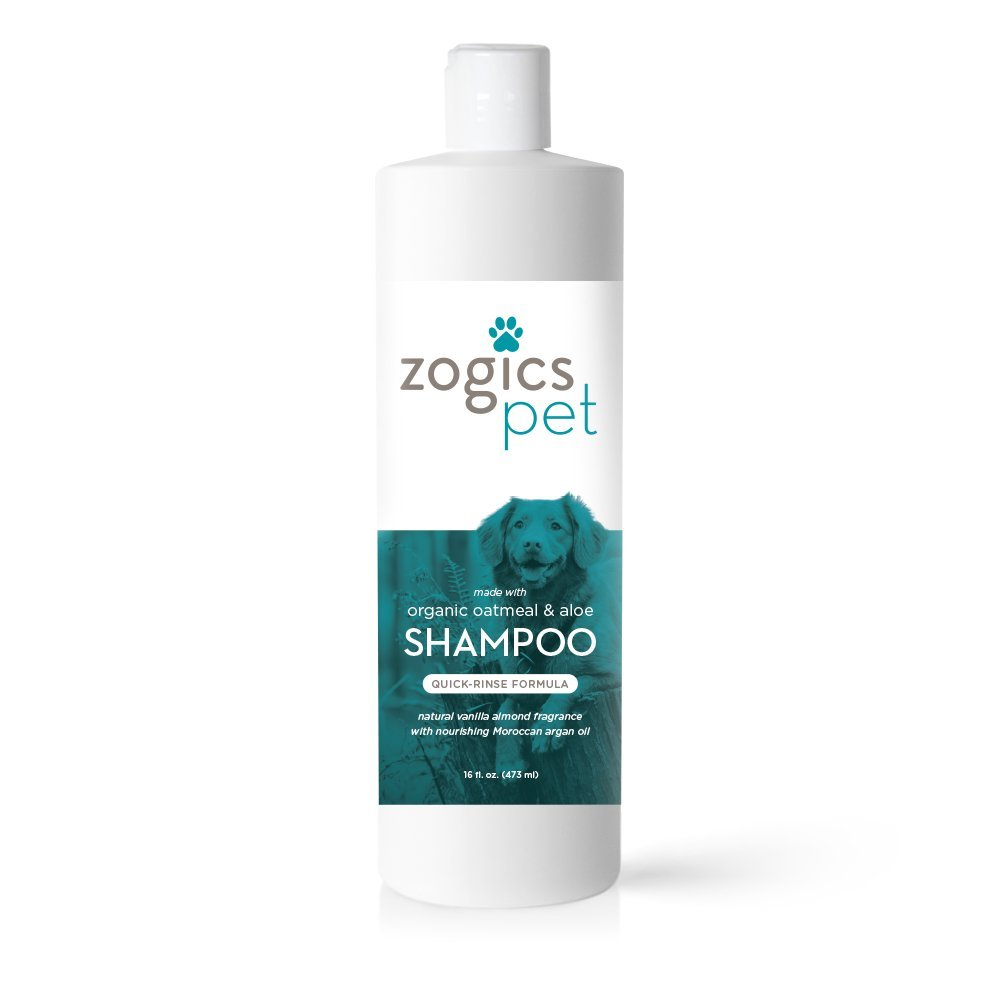 Zogics Pet Dog Shampoo with Organic Oatmeal, Aloe and Argan Oil - Hypoallergenic Formula Soothes Dry, Itchy Skin
