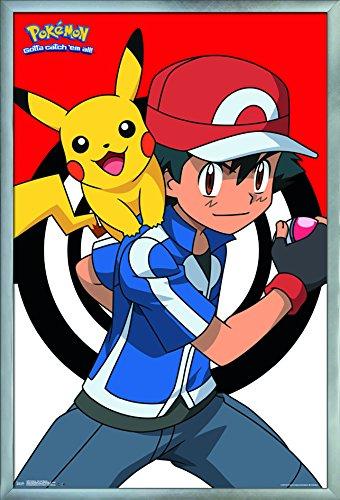 "Trends International Pokémon-Ash and Pikachu Wall Poster, 24.25"" X 35.75"", Multi"
