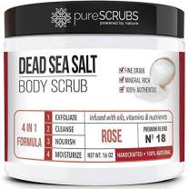 pureSCRUBS Premium Organic Body Scrub Set - Large 16oz ROSE BODY SCRUB - Dead Sea Salt Infused with Organic Essential Oils & Nutrients INCLUDES Wooden Spoon, Loofah & Mini Organic Exfoliating Bar