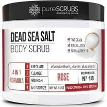pureSCRUBS Premium Organic Body Scrub Set - Large 16oz ROSE BODY SCRUB - Dead Sea Salt Infused with Organic Essential Oils & Nutrients INCLUDES Wooden Spoon, Loofah & Mini Organic Exfoliating Bar
