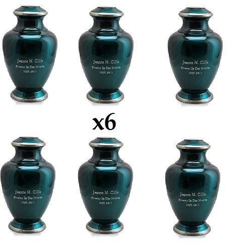 Memorial Gallery Custom Shiny Turquoise Brass Cremation Urn - Can Be Engraved with Your Own Personalization (6 Pack of 3, Engraved)