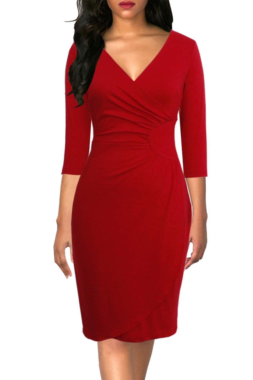 Lyrur Women's Vintage 3/4 Sleeve V-Neck Sheath Bodycon Knee Length Casual Party Work Ruched Faux Black Wrap Dress
