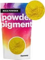 Hemway Mica Pigment Colour Powder Cosmetic Soap Bath Bomb Eyeshadow Nail Art Sparkle Eye Shadow Bath Bombs Pearlescent Foundation Iron Oxide (3.6oz / 100g, Metallic Mustard Yellow)