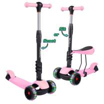 TONBUX Kids Toddlers Scooter 3 in 1 Adjustable Height Scooters with 3 Wheel Glider and PU Flashing Wheels Wide Deck for Girls & Boys Ages 2 3 4 5 6 7 8