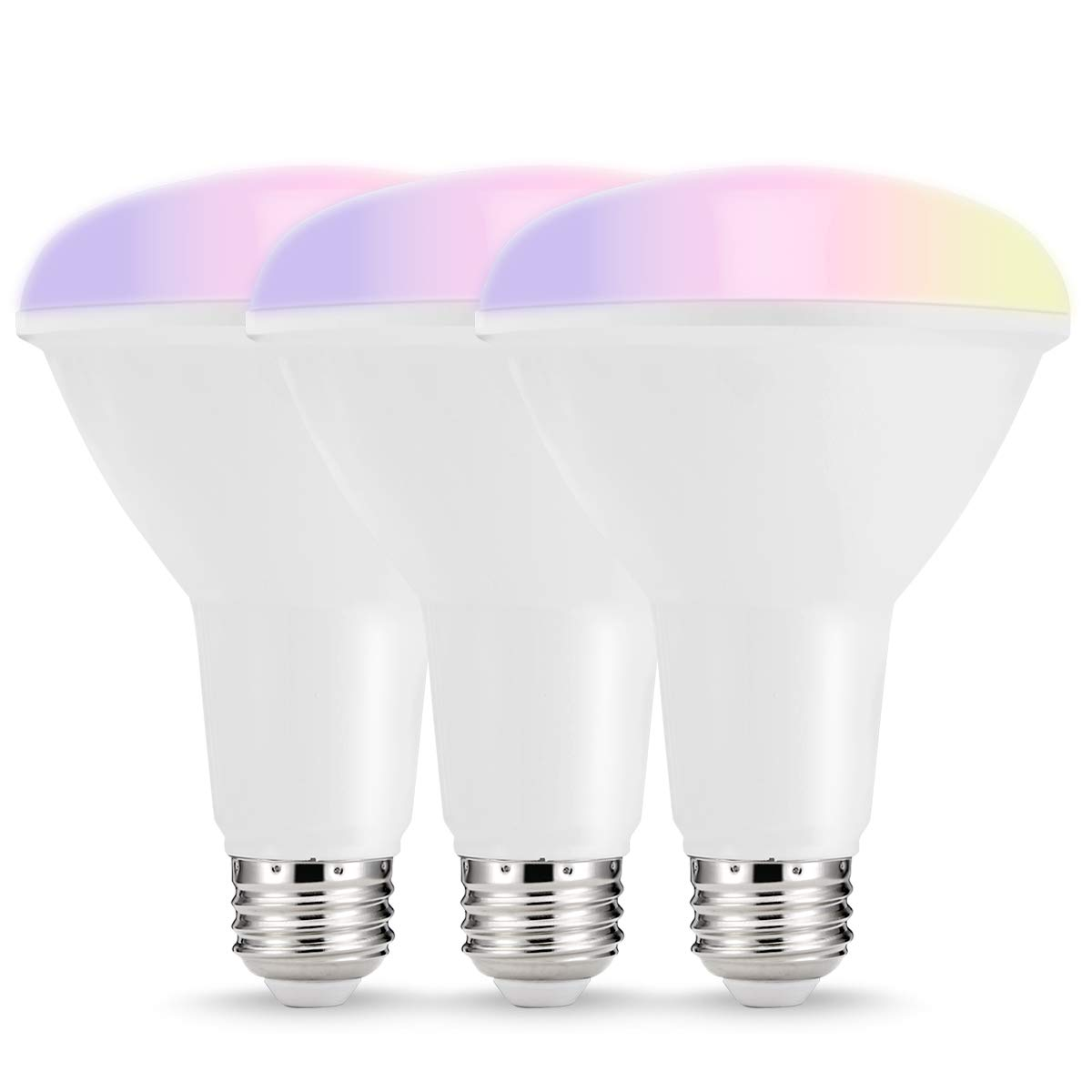 LOHAS Smart LED Bulbs, Multicolored WiFi LED Lights, BR30 Dimmable Recessed Light Bulbs, No Hub Required, 75W-80W Equivalent Flood Light, Compatible with Amazon Alexa and Google Assistant, 3 Pack