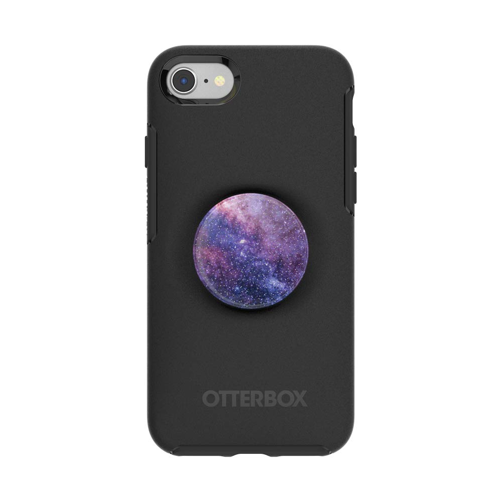 Otter + Pop for iPhone SE, 7 and 8: OtterBox Symmetry Series Case with PopSockets Swappable PopTop - Black and Glitter Nebula