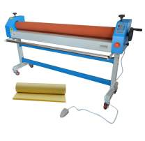 INTBUYING 51inch Automatic Electric Manual Soft Rubber Roller Cold Laminating Laminator Machine with 1968x25In Glossy Laminating Film as Gift