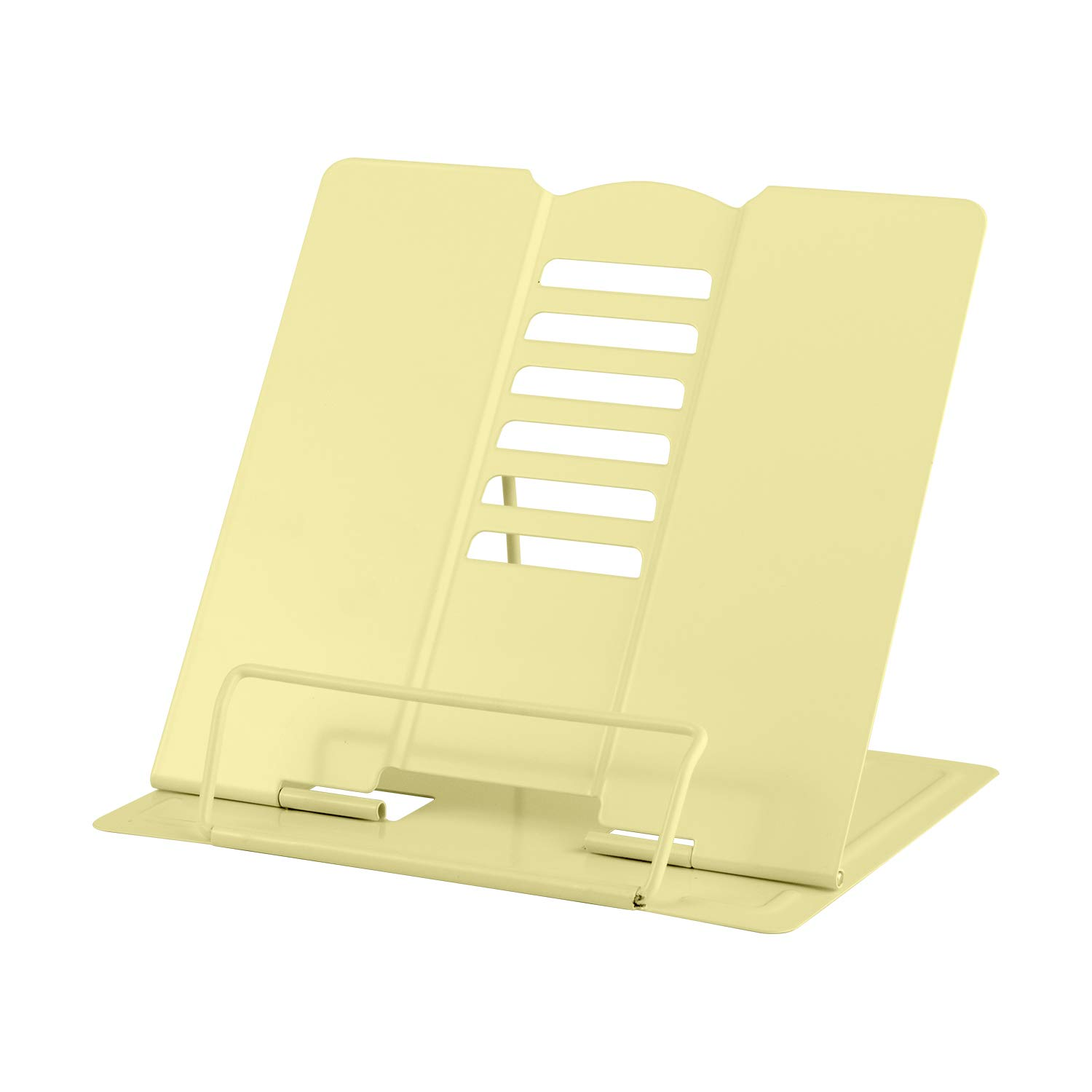 Blizzow Desk Book Stand Holders for Reading Hands Free, Durable Metal Adjustable Book Stand, Sturdy Lightweight Foldable Portable Bookstand -Cookbook, Recipe, Tablet, Music Book, Documents (Beige)