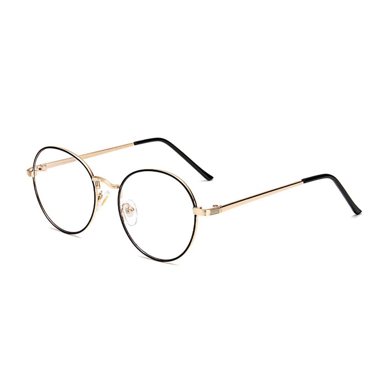Blue Light Blocking Computer Glasses Retro Round Metal Frame Minimize Digital Headache Anti Eyestrain Lens Lightweight Eyeglasses Tablet Reading/Gaming/TV/Phones Glasses,Men/Women (Gold&Black Frame)