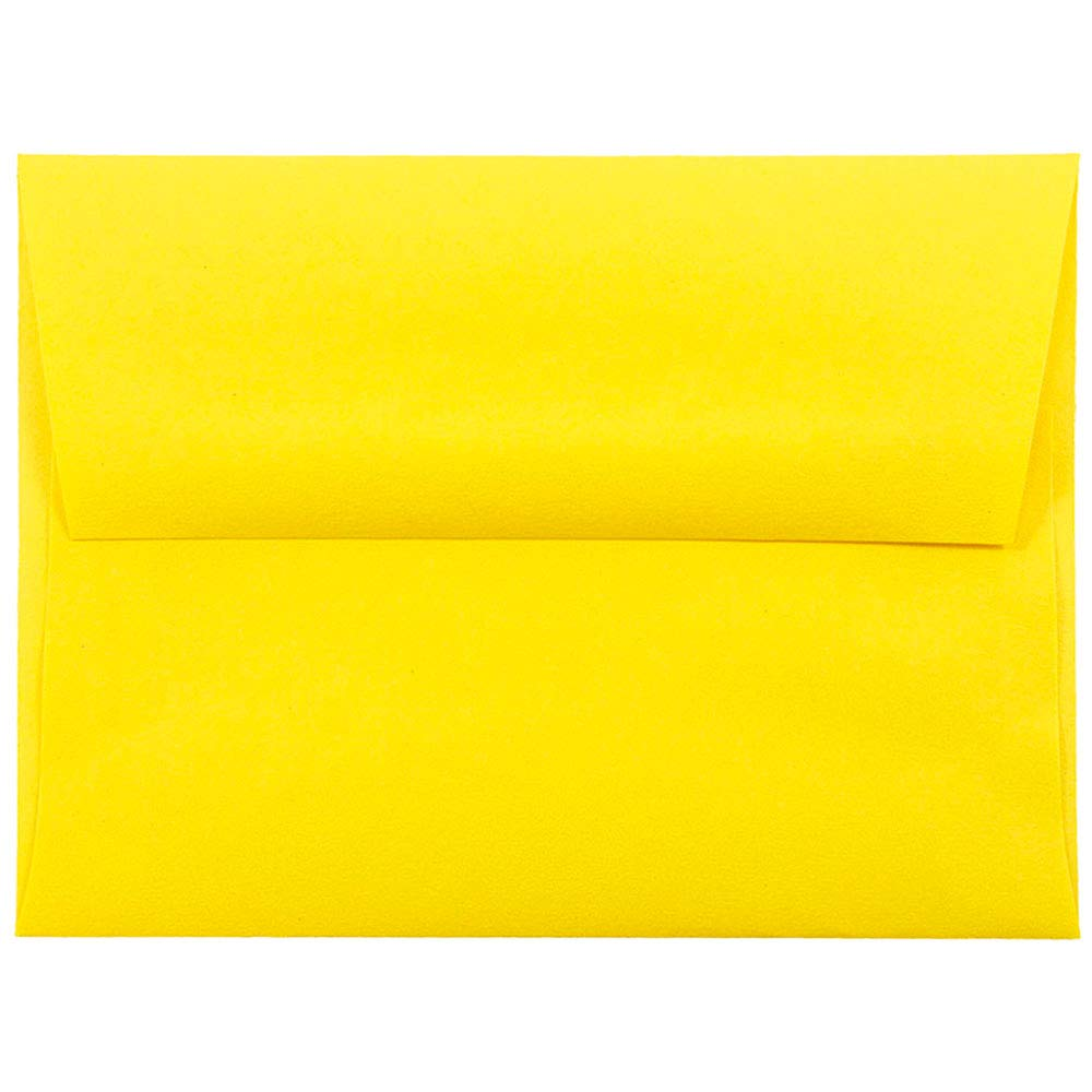 JAM PAPER A2 Colored Invitation Envelopes - 4 3/8 x 5 3/4 - Yellow Recycled - 100/Pack
