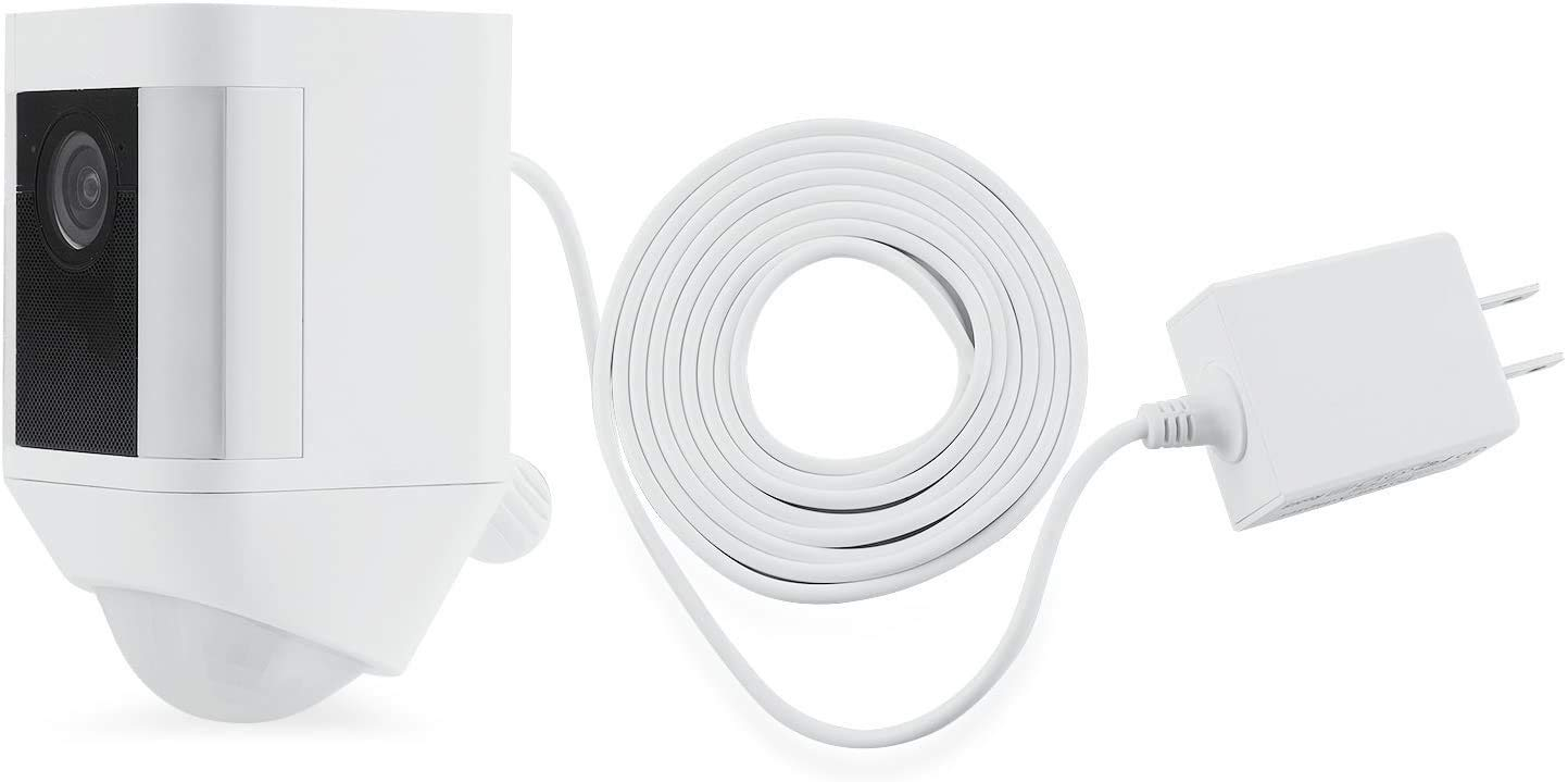 Weatherproof Integrated Charger for Ring Spotlight Cam Battery - Extra Long and Thin 21ft Cable to Continuously Operate Your Home Security Camera - by Wasserstein (White)