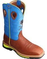 Twisted X Mens Lite Cowboy Brown Oiled Shoulder/Neon Blue Workboot (MLCS012)