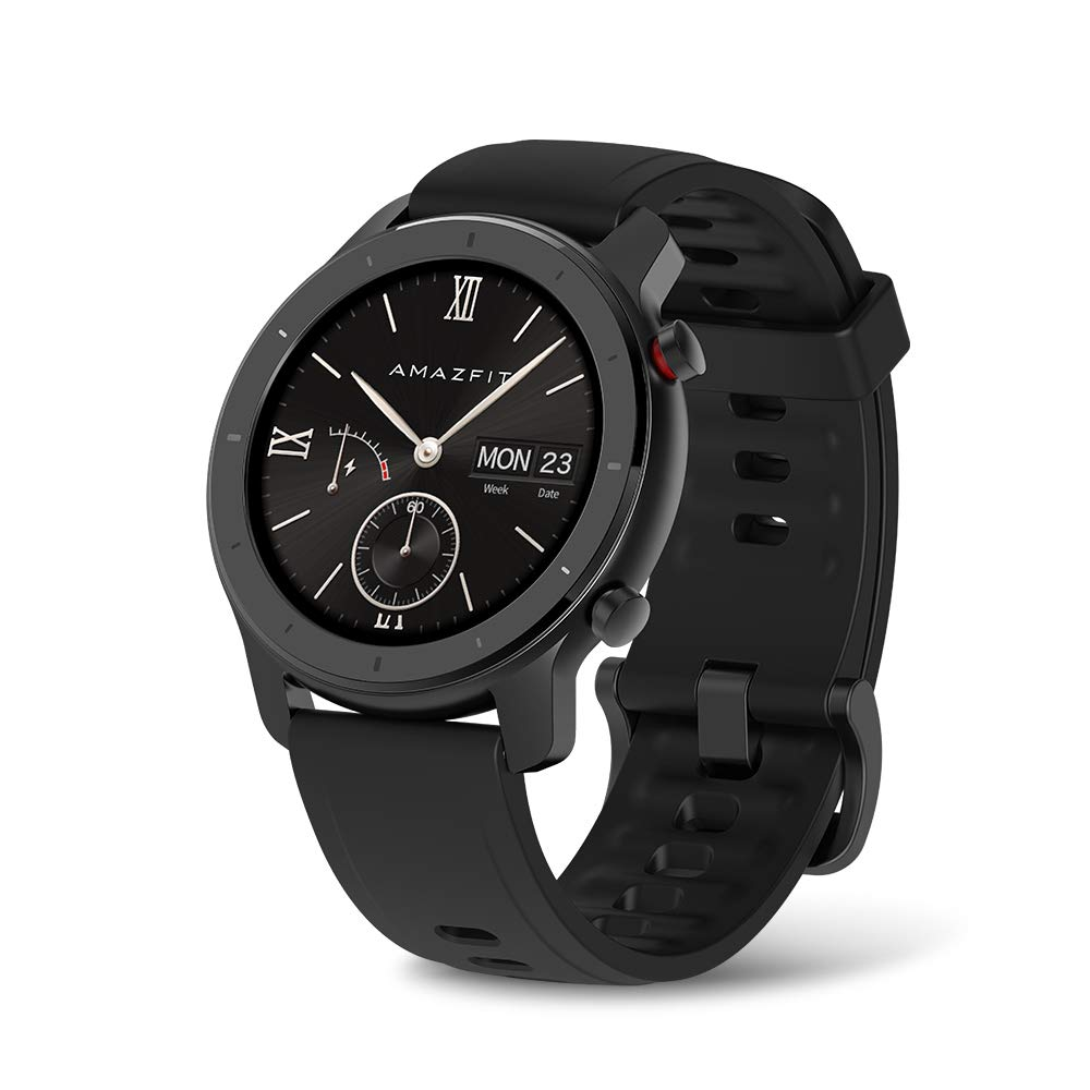 Amazfit GTR Smartwatch, Classic Design, 24/7 Heart Rate Monitor, Music Control, GPS, 10-Day Battery Life, 12-Sport Modes, Water Resistant, Starry Black