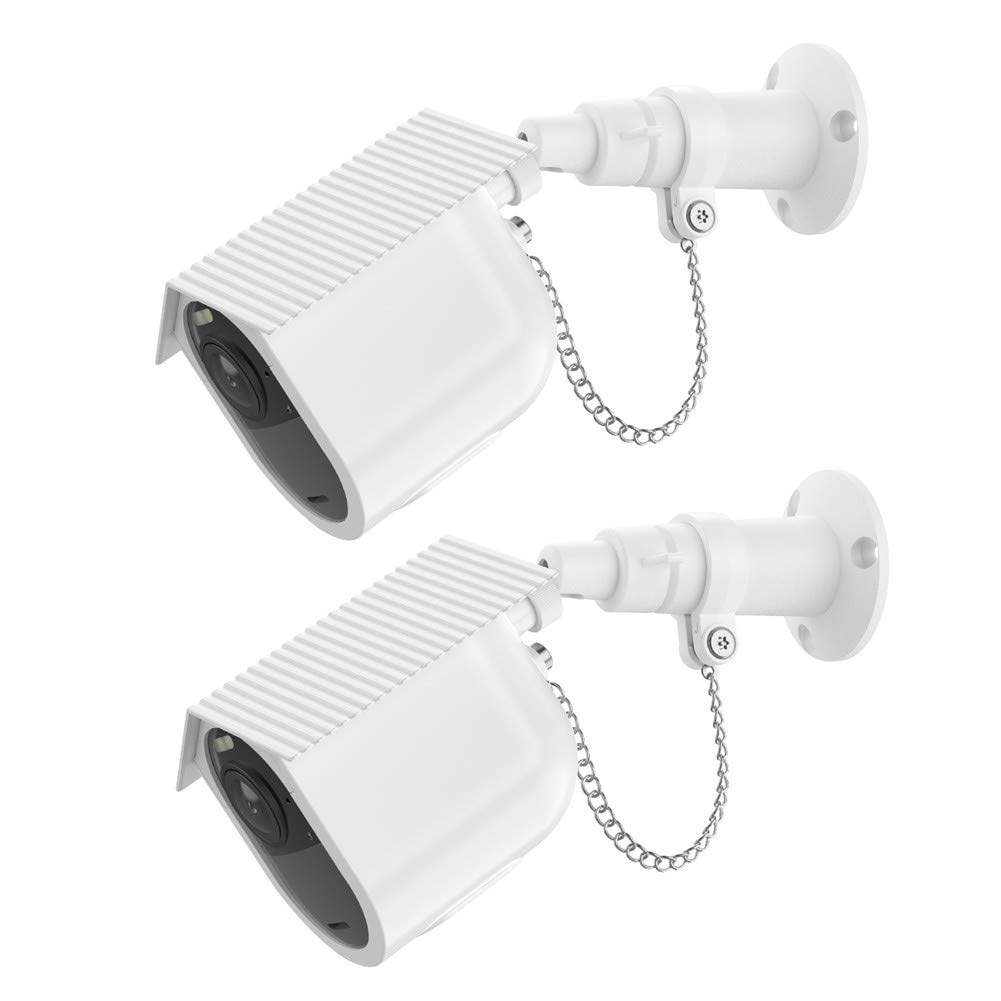 Elecguru Anti-Theft Mount Set and Protective Housing for Arlo Ultra/Alro Pro3 Security Camera,Outdoor Security Chain Lock Wall Mount with Camera Hard Case and Installation Tool(2 Set, White)