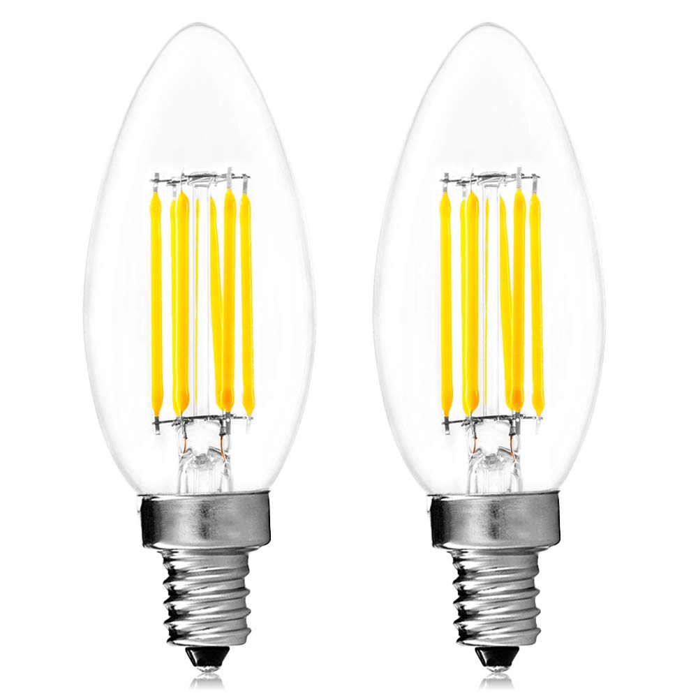 Luxrite Filament LED Candle Bulb, 6W (60W Equivalent), 5000K Bright White, 650 Lumens, LED Edison Chandelier Bulb, UL Listed, Torpedo Tip, LED E12 Base, Pack of 2