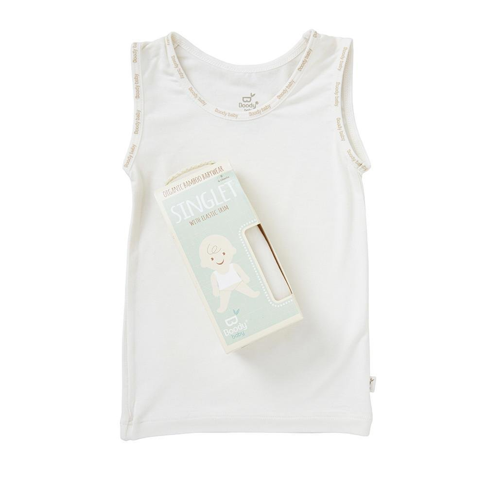 Boody Body Baby EcoWear Tank Top - Soft Cooling Infant Tank Made from Natural Organic Bamboo - Soft Breathable Eco Fashion for Sensitive Skin - Chalk White, 3-6 mths