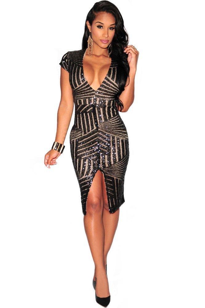 Kearia Women Short Sleeve Deep V-Neck Sequin Split Bodycon Cocktail Party Dress Black XLarge