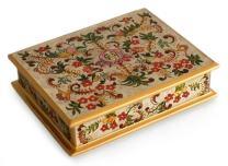 NOVICA Decorative Wood Reverse Floral Dream' Painted Glass Box